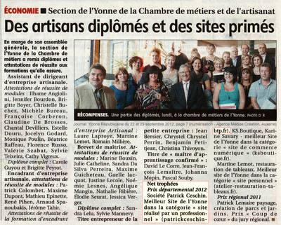 Diplôme Chambre des Métiers et de l'artisanat de l'Yonne - Meilleur site web - dans la catégorie site web réalisé par un professionnel (Agence médias Création, Auxerre)